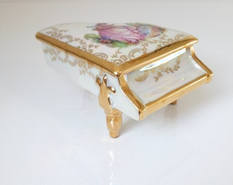 vintage french  Limoges porcelain piano jewelry box, porcelain trinket box