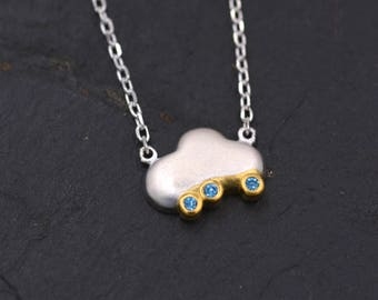 Hand Crafted Little Rain Cloud with Part 18ct Gold Plate with Blue CZ Crystals - Textured Finish  Y43