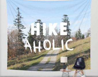 HIKEaholic, Wall Tapestry, hiking, Blue, Green, Modern Wall Art, Home Decor, Home Accessories, Wall Decor, Interior Design, Walking