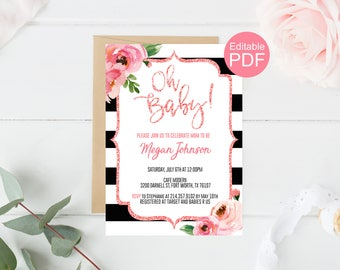 Kate Oh Baby Shower Invitation Template, Spade Baby Shower PDF, Blush Glitter Invite, Black and White Striped Invitation, Floral Oh Baby #01