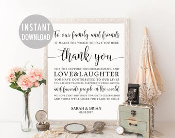 Wedding Thank You Sign Template, Thank You Card Sign, Guest Thank You, Thank You Poster, Reception Signage, Printable Thank You, Wedding Day