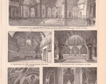 Antique Architectural Print of a Grand Bath House Building from 1890