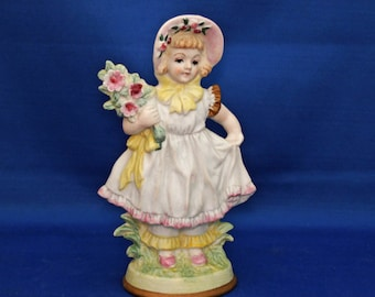 Vintage Hand Painted Bisque Country Girl Figurine Made in Occupied Japan child with bouquet, girl with flowers