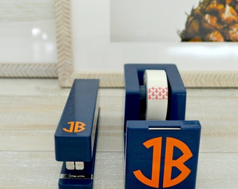 Tape Dispenser & Stapler Set, Monogram Desk Set