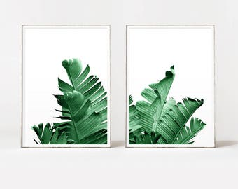 Banana leaf print, banana leaf art, banana leaf poster, tropical art, botanical print, leaf print, botanical wall art, palm leaf art, leaves
