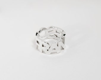 Ring Written BOLD - Text to customize - Letters - Sterling 925 - Band ring - Written Customizable ring
