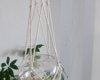Macrame Hanging Planter, White Cotton Plant Hanger, Wall Hanging, Boho Decor, Plant Holder
