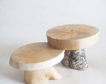 "Rustic Cake Stands, Set of 2 Birch Wood Slice Cupcake Stands, Small Wooden Cupcake Stands 5"", Wood Centerpiece"