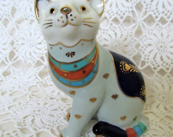 Vintage Ceramic Cat. Bellwood Artistic Studio, Linchmere Cat. White Blue Gold Collectable Porcelain Cat. Studio Pottery. Ornate China Cat.