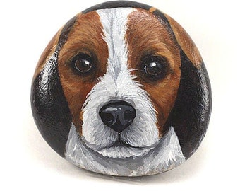 Jack Russell painted dog rock, hand painted Jack Russell miniature on rock, painted rocks, dog painted rock, hand painted rock, dog rock art