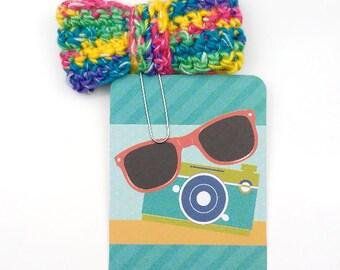 Bright Multi-Colored Crochet Bow  Planner Paperclip/Bookmark/Clip    [025]