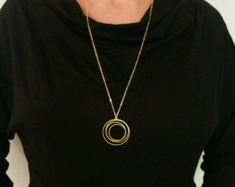 Gold Circle Necklace, Circle Necklace, Long Necklace, Circle Jewelry, Statment Necklace, Necklace, Wedding Jewellery, Pendant Necklace