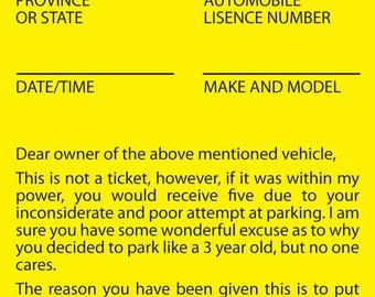 Printable Parking Violation Notice | Poor Parking | Bad Parking