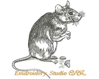 """Machine embroidery design """"Rat""""  embroidered rat - for white and pastel shades materials"""
