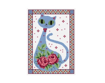 Floral Cat - Durene J Cross Stitch Pattern