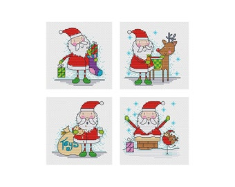FunSanta - set of 4 - Durene J Cross Stitch Patterns