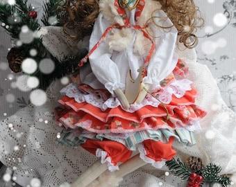 Handmade Christmas Tilda Doll Beauty fabric cloth doll a la Russe - tilda winter with symbol of the year