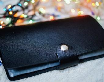 Black leather cardholder. ID walet. Card holder. Black leather. Card wallet. Business card case. Credit card case.