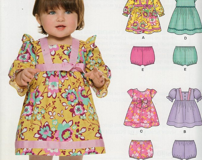 New Look 6316 Free Us Ship  Baby Smock Dress bloomers panties New Old Store Stock  Size 7-24 lbs Sewing Pattern Out of Print