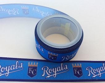 """KC royals Grosgrain ribbons,  Kansas City ribbons, Baseball ribbons, sport ribbons, choose from 5/8"""" or  7/8 inch Grosgrain ribbons"""