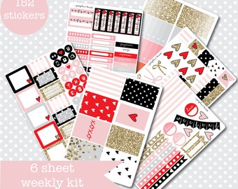 LOVESTRUCK 6 page full weekly Sticker Kit for vertical planners