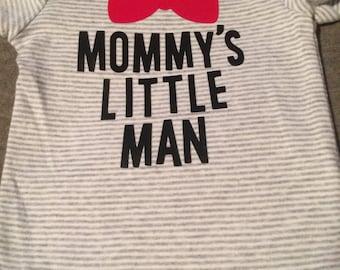 Striped mommy's little man onesie size 3 months