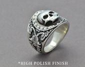 The Reaper Ring, Skull Ring, Sterling Silver Ring, Men's Skull Ring, Men's Statement Ring, Gothic Ring, Pirate Skull Ring, Statement Ring