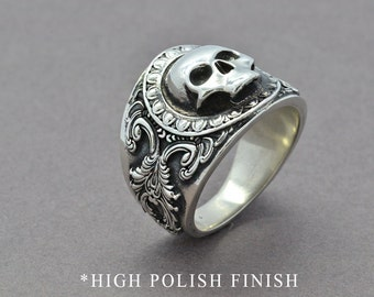Mens skull ring Etsy