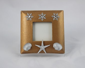 Small Christmas Photo Frame, Christmas Ornament, Small Picture Frame, Seashell Decorated Photo Frame, Cottage Chic