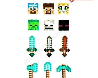 Minecraft Inspired Cupcake Toppers 12 or 24 packs: Featuring Heroes, Enemies, Weapons & Tools