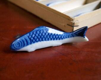 Vintage Japanese Koi Fish Porcelain Chopstick Knife Rests Hasioki