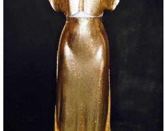 Aluminum Pencil Skirt Metal Mesh Gold  - Street Armor Collection