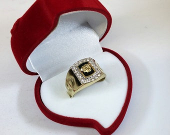 Ring gold 585 Medusa Onyx Black crystals GR119