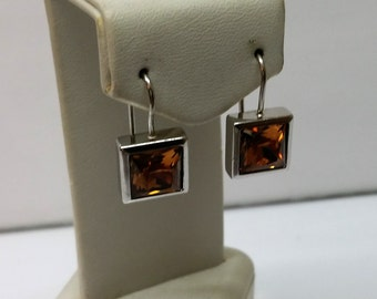 Earrings Crystal orange silver SO169