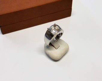 17.5 mm silver ring 925 Crystal stone square SR743