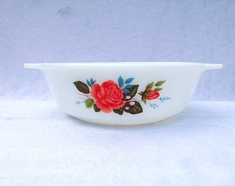 Arcopal France Dinnerware Dishes Rose Oven Dish 7.25x2.25 Inches Milk Glass Dish