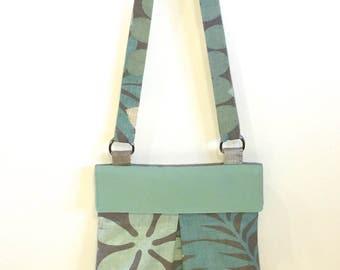 Crossbody Bag, Adjustable Women's Bag, Shoulder Bag, Purse, Green, Floral