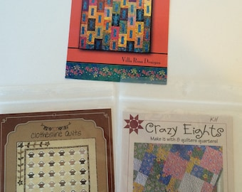 Three little quilt patterns, Cathedral, Crazy Eights, and Little Brown Baskets, jelly rolls, fat quarters
