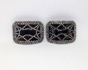 Holfast French Shoe Clips, Vintage Signed Pair of Shoe Clips, Silver Stud Geometric Design Black Leather Insert Shoe Clips
