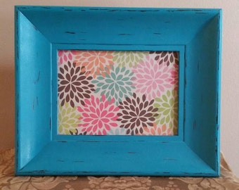 Aqua Picture Frame; Painted and Distressed Aqua Picture Frame; 5 x 7 Aqua Picture Frame; Aqua Frame