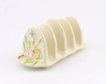 Four Slice Toast Rack or Letter Rack - Pretty Floral Design - Ceramic Toast Holder - Office Decor or Gift - Housewarming Gift - Flowers