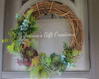 Made to Order Artificial Succulents Wreath/Grapevine Wreath/Faux/Twig Wreath/Plant/Wall Decor/Front Door Wreath/Everyday/Housewarming Gift