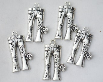 4 Pcs Jeans Charms Antique Silver Tone 19x24mm - YD1469