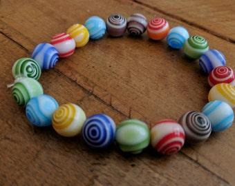 Colorful Swirly Bead Stretch Bracelet