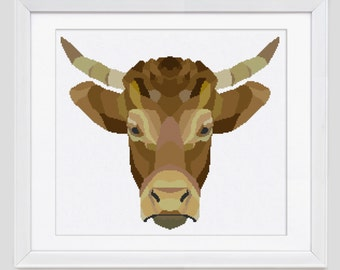 Bull cross stitch pattern, Bull cross stitch pattern, instant download PDF cross stitch pattern, Bull counted cross stitch pattern