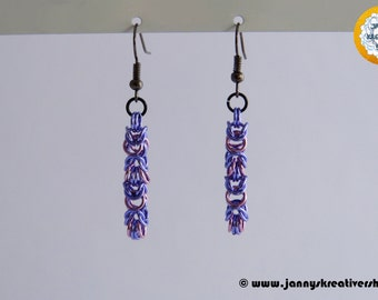Byzantine small in purple pink, earrings, Chainmaille