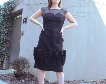 Vintage Black Ruffled Dress