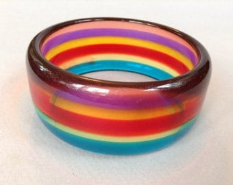 Rainbow Lucite Bangle Bracelet