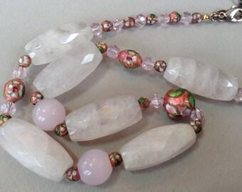 Rose Quartz Cloisonné Beaded Necklace