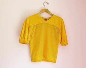 Vintage 70s Golden Mesh Football Jersey - Youth's Size M